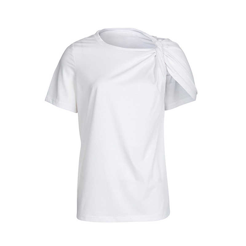 TWOTWINSTYLE Ruched Basic T Shirt For Women Short Sleeve Big Size Irregular White T Shirts Top 2019 Summer Fashion New Clothing