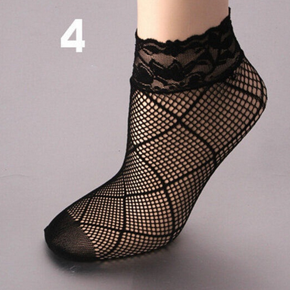 1 Pair Sexy Black Sock Women Girls Ladies Soft Lace Short Ankle Socks Fishnet