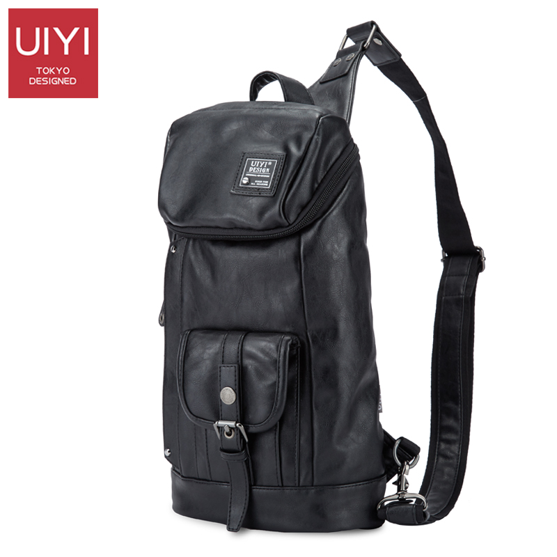 UIYI Multi - pocket black PVC men Messenger Bags Single shoulder strap casual ch