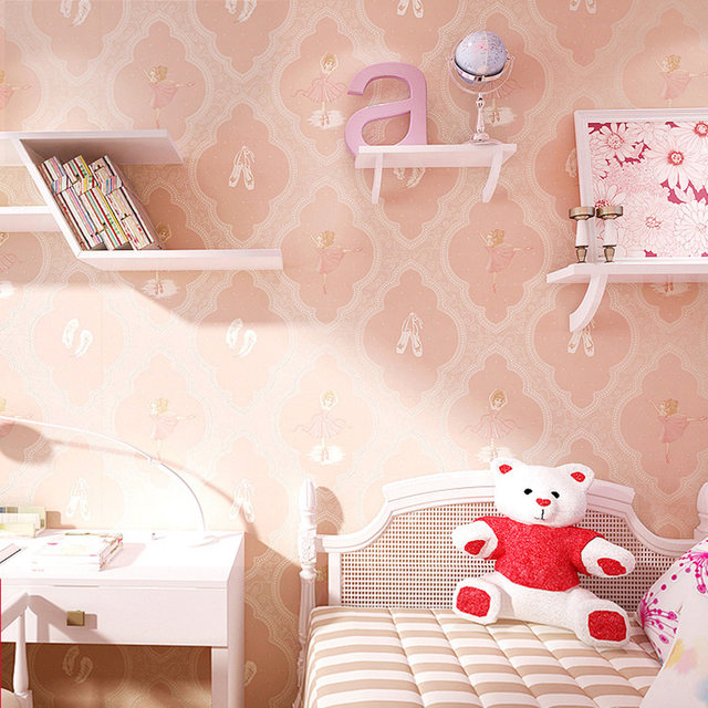 Ballet Princess Children Room Decoration Wallpaper 3D Cartoon Pink Girls Bedroom Environmental Protection Non Woven Wall Paper