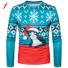 FEITONG Men's shirt Fashion Xmas Christmas Cat 3D Print Floral Top Long Sleeve Basic T-shirt Blusa Casual O-Neck Autumn Clothing