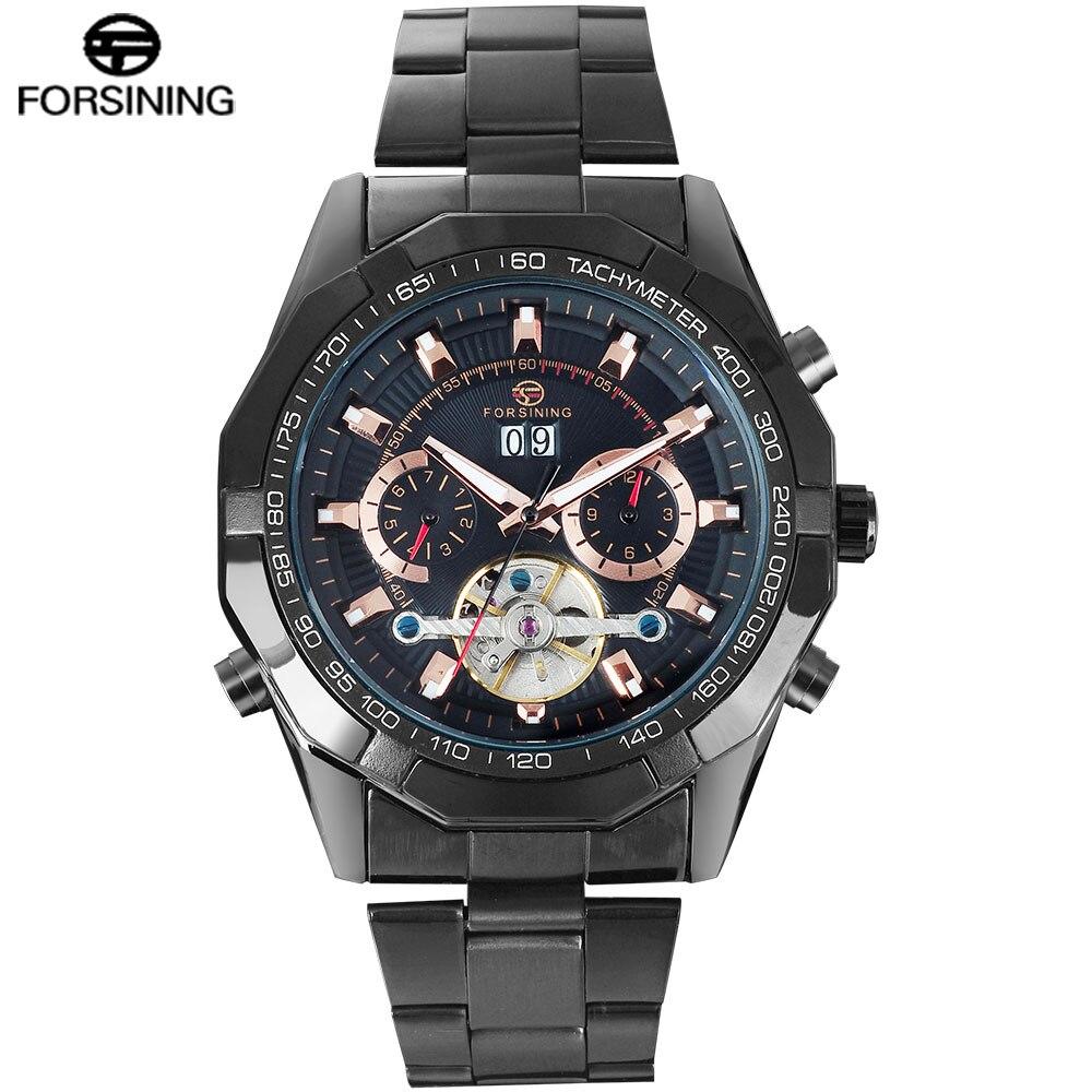 FORSINING hommes Top marque montre de luxe Tourbillon Auto mécanique montres Bracelet en acier inoxydable horloge Relogio Masculino