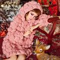 2016 Настоящее Женщины Свитера И Пуловеры Magic Grand Осень Новая Кукла Принцесса Ажурный Крючком Цветок Профиль Фонарь Рукав Свитера