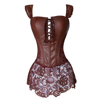 Faux Leather Corset Dress Steampunk Zip Corselet Gothic Clothing Black Coffee Red Lingerie Sexy Party Outfits S-6XL Plus Size - DISCOUNT ITEM  0% OFF All Category
