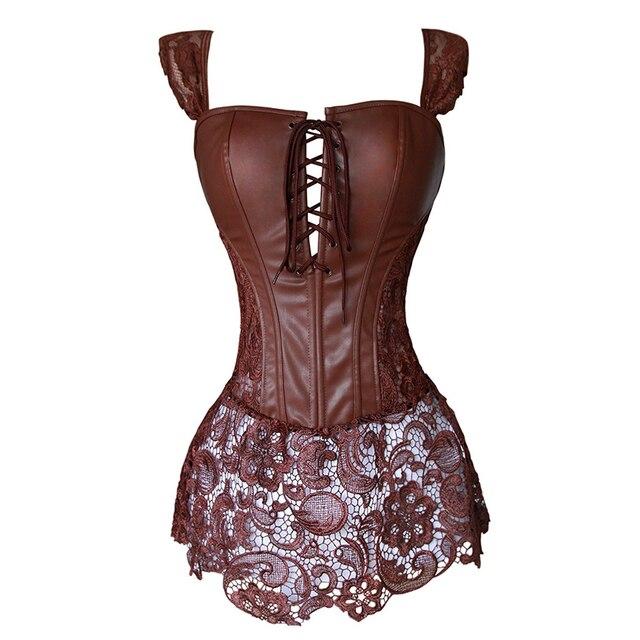 5019a4f19540d7 Ze sztucznej skóry gorset do sukienki Steampunk Zip gorset gotycka odzież  czarna kawa czerwona bielizna Sexy