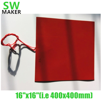 SWMAKER 110V/220V 560W 400x400mm Silicone heater 16'' Heated bed with 1000mm cable NTC thermistor for Reprap 3D printer