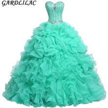 Organza beading ruffles sweetheart neck ball gown Quinceanera Dresses Vestido Longo 15 anos