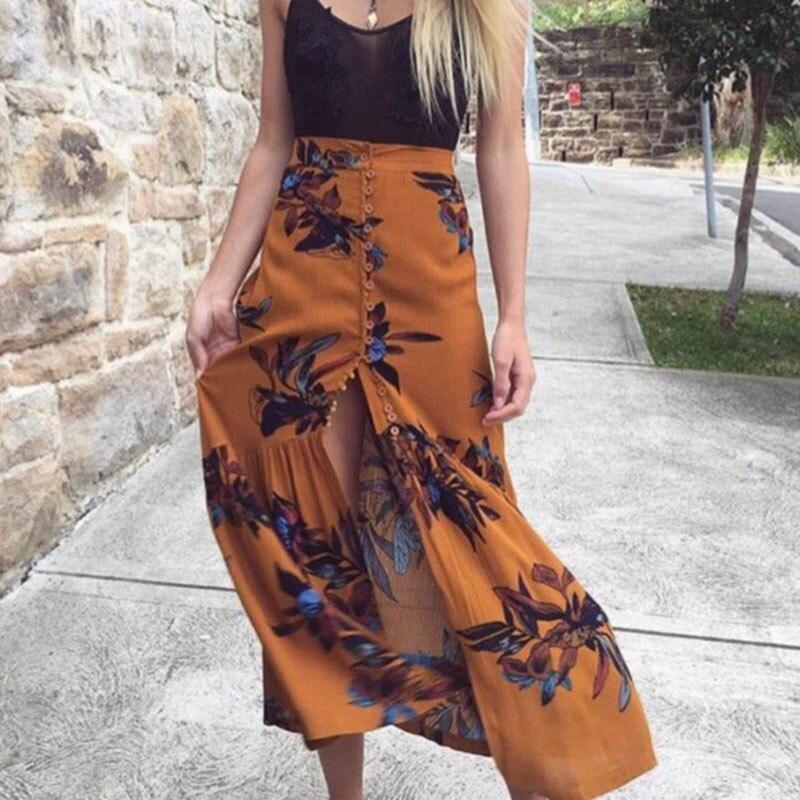 Women Summer Bohe Floral Printed High Waist Long Skirt New Beach 2017