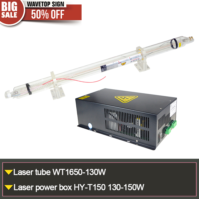 co2 laser tube WT1650-130W + laser power supply  HY-T150 130-150W or MYJG 150W length 1650mm diameter 80mm high voltage flyback transformer hy a 2 use for co2 laser power supply