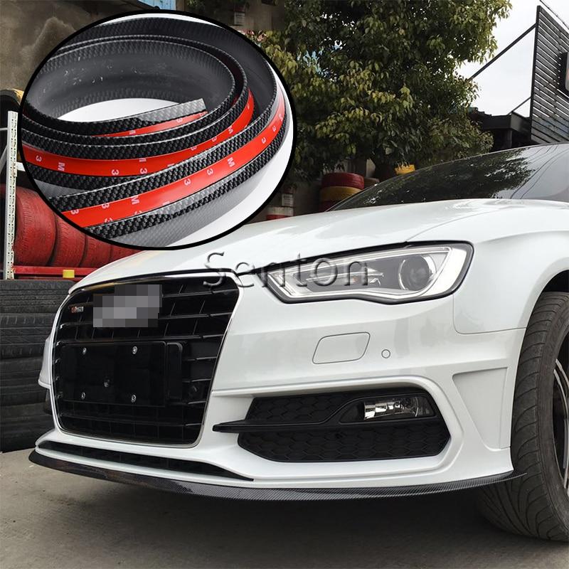 Car Carbon Fiber Front lip 2.5M For BMW E46 E39 E90 E60 E36 F30 F10 E34 X5 E53 E30 F20 E92 E87 M3 M4 M5 X5 X6 Accessories