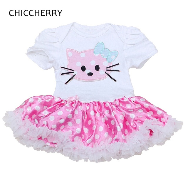 Hello Kitty Applique Newborn Lace Tutu Polka Dots Infant Baby Lace Rompers Dress Vestido Infantil Menina Kids Toddler Outfits