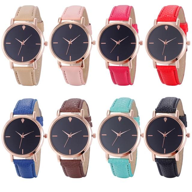 7b289064ce3a Gofuly 2019 mujeres relojes Reloj de Mujer de cuero de imitación analógico  de cuarzo Reloj de