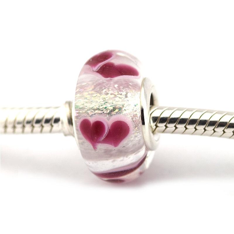 3de928edd Fits Pandora Charms Bracelet 100% 925 Sterling Silver Murano Glass Beads  Wild Hearts Charm Women