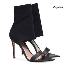 Aiyoway Women Pointy Toe Mid Calf Sock Ankle Boots Stretch High Heel Sandals Spring Summer Party Shoes Slip-On Black Red