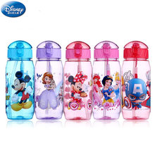 450ml Disney cartoon Mickey mouse kinderen plastic cup stro cup studenten drinkwater kid fles lekvrije nieuwe(China)