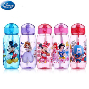 450ml Disney cartoon Mickey mouse children's plastic cup straw cup students drinking water kid bottle leak proof new(China)