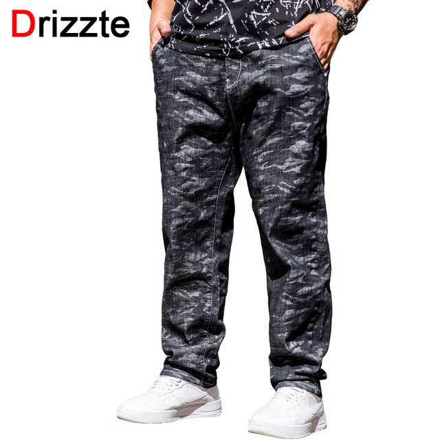 857d1485a23 Drizze Big and Tall Mens Jeans Plus Size 40 42 44 46 Camouflage Pants Jeans  Elastic band Autumn Winter Thick Black New Arrived