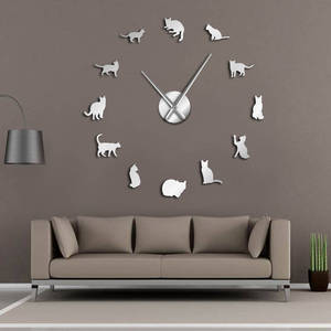 Silhouette Cats Wall Art Kittens DIY Giant Wall Clock Playful Cats Big Needle Kitty Girl Room Large Wall Watch Feline Fan Gift(China)