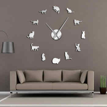 Silhouette Cats Wall Art Kittens DIY Giant Wall Clock Playful Cats Big Needle Kitty Girl Room Large Wall Watch Feline Fan Gift - DISCOUNT ITEM  0% OFF All Category