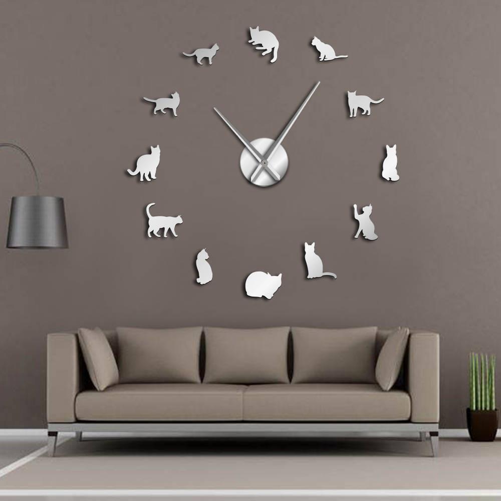 Silhouette Katzen Wand Kunst Kätzchen DIY Riesen Wanduhr Spielerische Katzen Große Nadel Kitty Mädchen Zimmer Große Wand Uhr Feline fan Geschenk