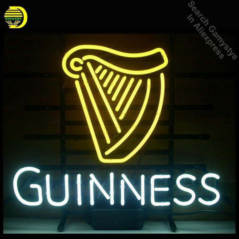 NEON SIGN GUINNE IRISH LAGER ALE HARP Signboard REAL GLASS BEER BAR PUB Shop Club display christmas Light Signs 17*14 Art lamp image