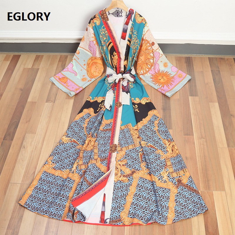 New Casual Beach Long Dress 2018 Summer Women Bow Collar Red Pepper Print Long Sleeve Maxi Dress Yellow Boho Ladies Dress Long