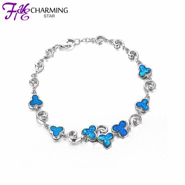 2017 New Fine Jewellery Sterling Silver 925 Flower Designs Blue Opal Bracelet Women Jewelry Body Chains
