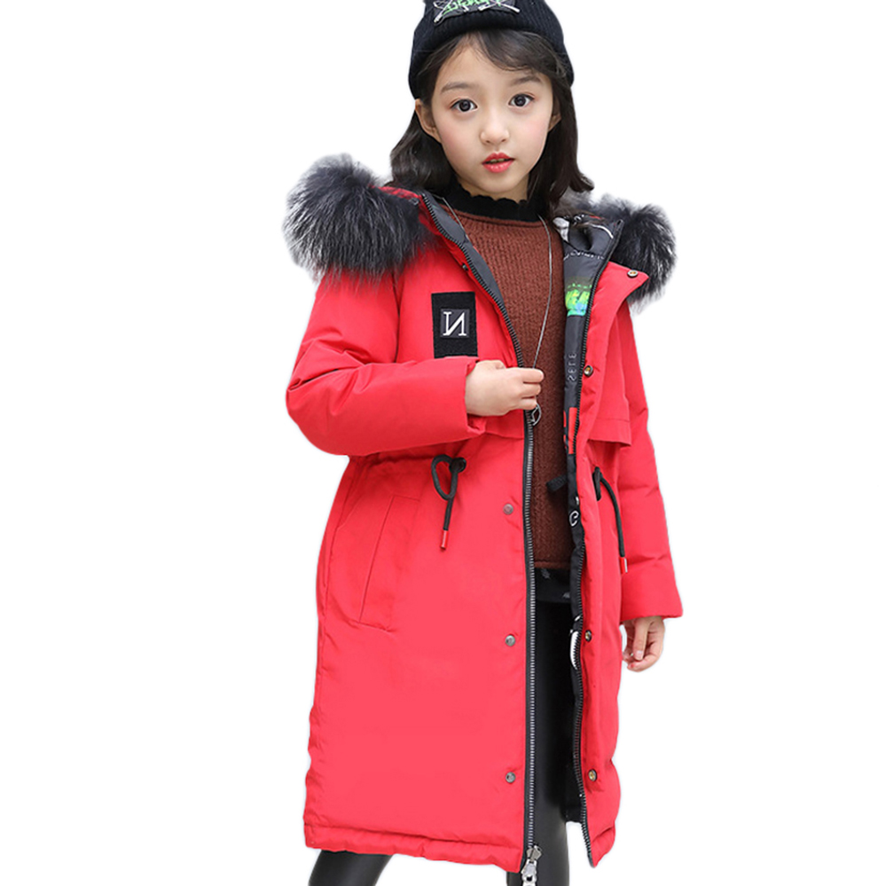 Teen Girls Winter Outwear Children Jacket Coat Clothes Kids Long Down Parkas Thick Hooded Clothes for 6 8 10 12 14 Years children girls winter coat new 2018 fashion fur hooded thick cotton down clothes long kids parka jacket for 6 8 10 12 14 years