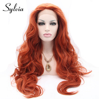 sylvia red brown body wave synthetic lace front wigs 350# color natural look heat resistant fiber hair for white woman in stock