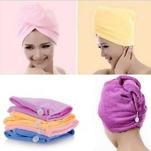 Белое Коралловое бархатное полотенце для сухих волос, микрофибра, Быстросохнущий тюрбан, супер абсорбент, женская шапка для волос, обертка с кнопкой, утолщенная