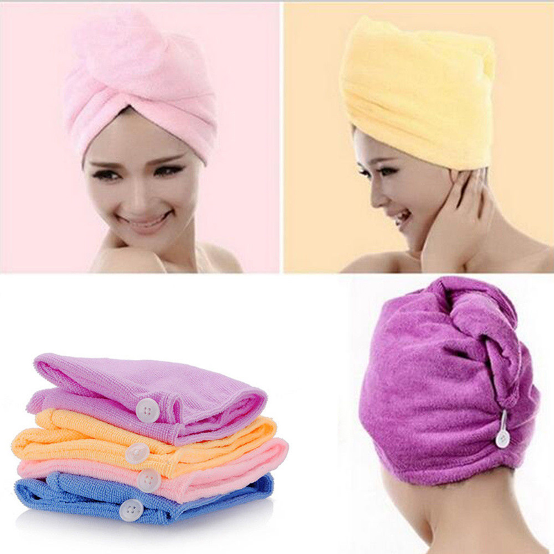 White Coral Velvet Dry Hair Bath Towel Microfiber Quick Drying Turban Super Absorbent Women Hair Cap Wrap With Button Thicken