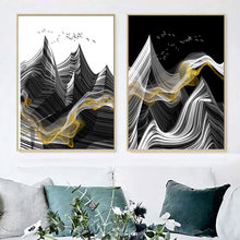 Abstract Line Mountain Bird Landscape Wall Art Canvas Painting Nordic Posters And Prints Wall Pictures For Living Room Decor(China)