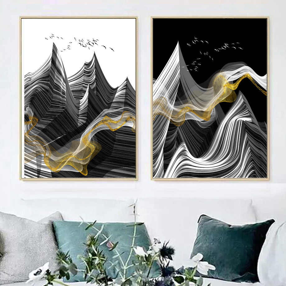 Abstract Line Mountain Bird Landscape Wall Art Canvas Painting Nordic Posters And Prints Wall Pictures For Living Room Decor