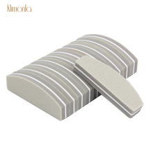 20pcs 100/180 Gray Boat Nail File Sanding Buffer Lime a ongle Professionel Washable Buffing Sponge Manicure Tools
