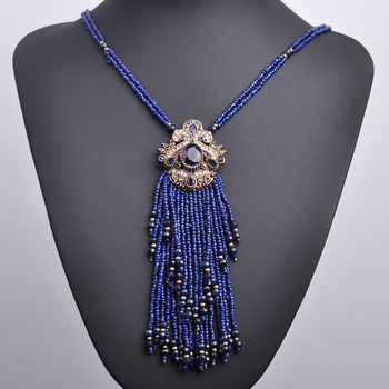 544d27a4f04c Madrry Vintage borla de flor collar de forma de pequeño simulado perlas  joyería vestido de suéter