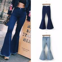 Moda alta cintura Flare pantalones vaqueros Mujer Bell Bottom Denim Ladies  Skinny Jeans Retro femeninos pierna ancha Pantalones 28de850fdfc2