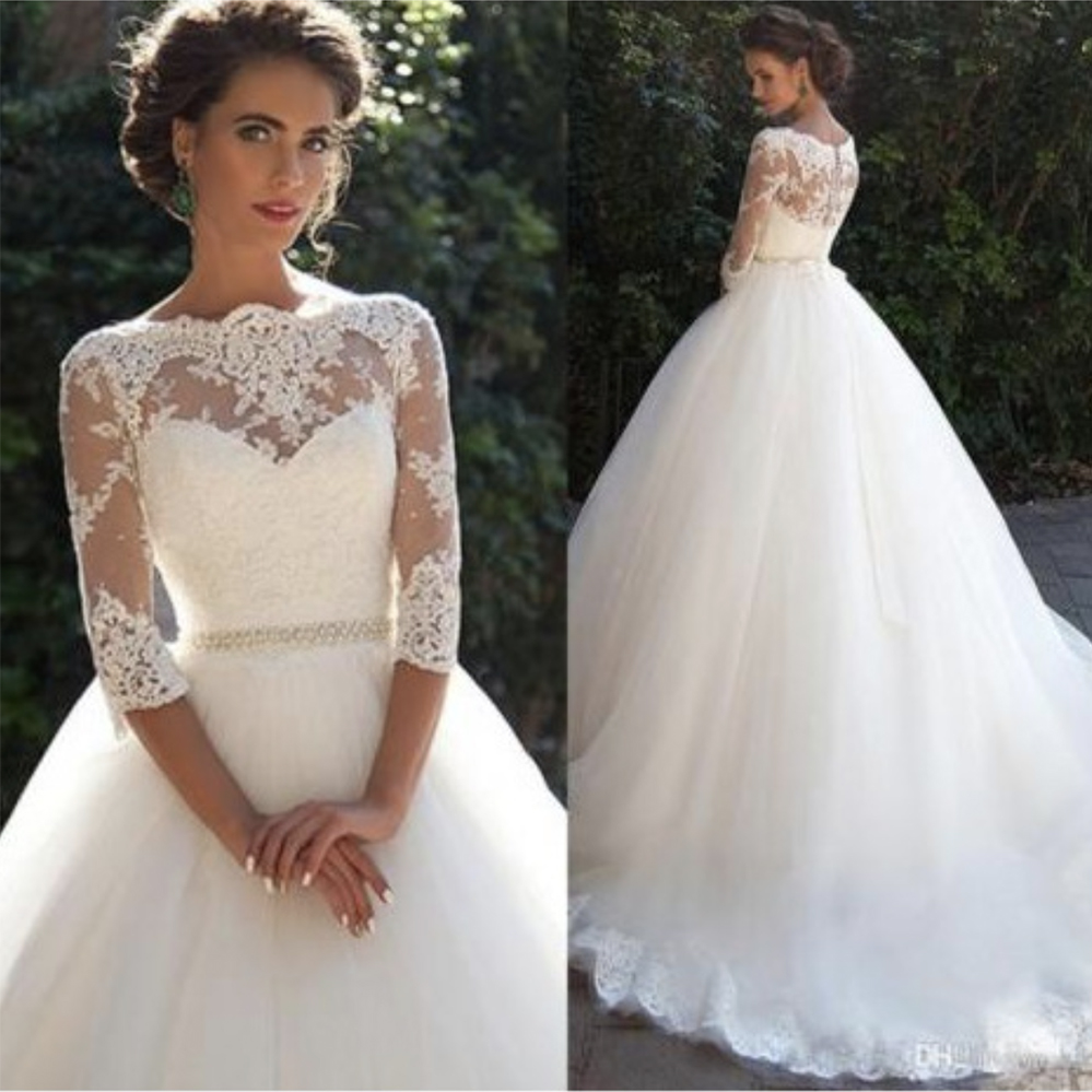 Fansmile 2019 Vestido De Noiva Three Quarter Sleeve Ball Wedding Dresses Train Customized Vintage Bridal Tulle