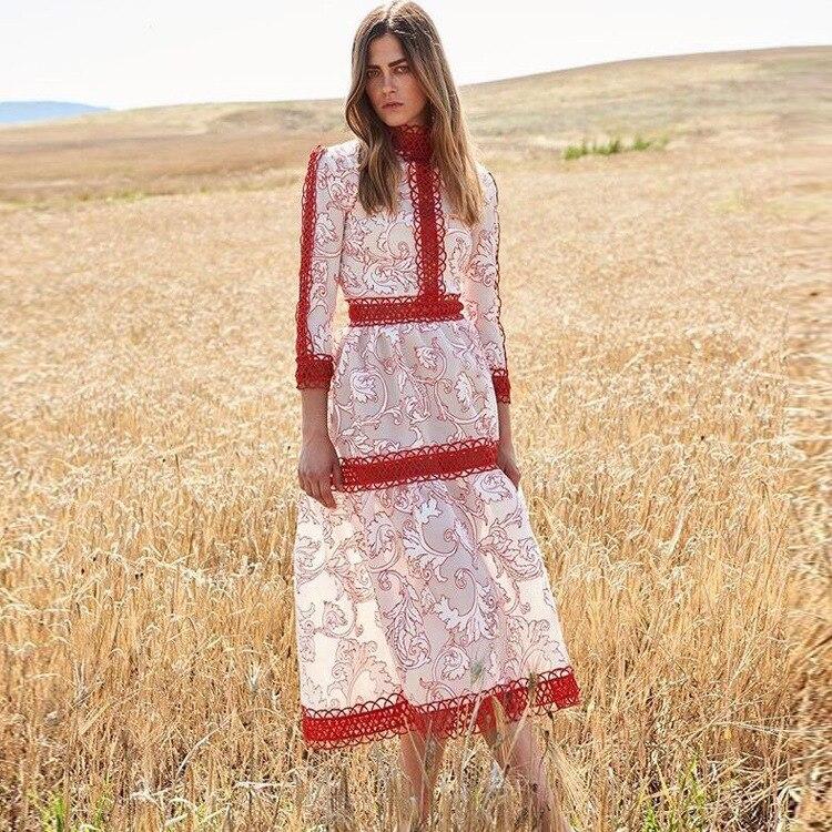 Sont L'ukraine Robes Femme Automne Impression Nouvelle Dans S'engage Sept Précipités 2019 Pour Se Manches Robe Une Soluble Col 2018 Épissage L'eau 5fpwtqn