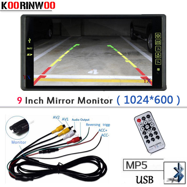 9 Inch LCD TFT Car Mirror Monitor 1024*800 Bluetooth MP5 Player FM with USB SD SLOT Remote control Audio input Parking Accessory