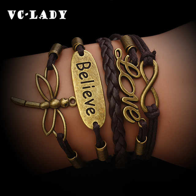 Charm  Vintage 2018 Rudder 8  Bronze Wax Cords  Multilayer Braided Bracelets For Women  B5 B103