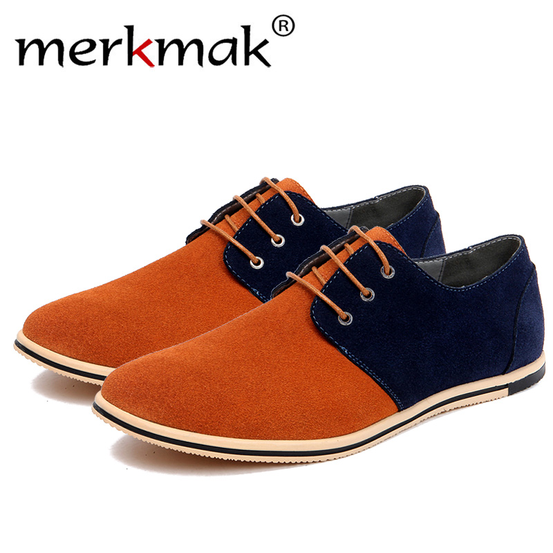 Merkmak 2018 fashion men casual shoes new men flats lace up male   suede   oxfords men   leather   shoes zapatillas hombre size 38-50