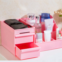 Hot Sales PP plastic Double drawer cosmetic storage box desktop remote control for home decor organization storage