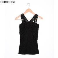 CHSDCSI Summer Women O Neck Chiffon Tops Crochet Lace Floral Vest Blouse Open Sleeveless Shirts Tank