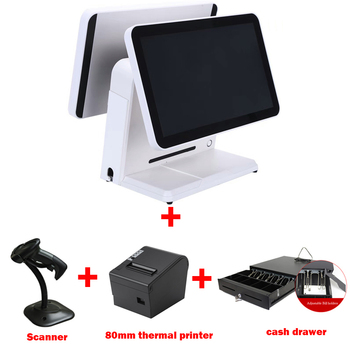 15 inch dual touch screen all in one cash register machine sell with 80mm thermal printer cash drawer and barcode scanner