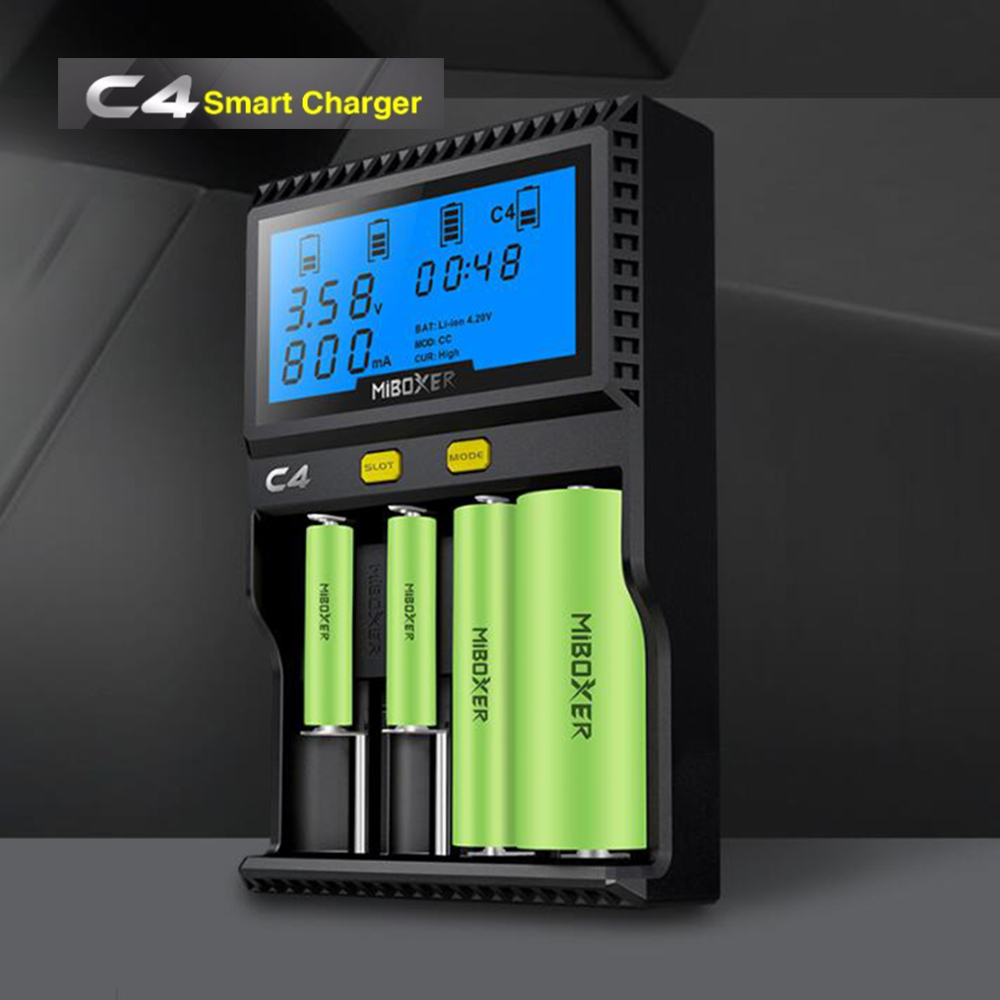 Original Miboxer C4 VC4 LCD Smart Battery Charger for Li-ion/IMR/INR/ICR/LiFePO4 18650 14500 26650 AAA 3.7 1.2V 1.5V Batteries 30a 3s polymer lithium battery cell charger protection board pcb 18650 li ion lithium battery charging module 12 8 16v
