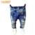 1-12Yrs Bebê Meninos Meninas Buraco Quebrado Calças Calças 2017 calças de Brim Da Forma Da Menina do Menino Calças Jeans Casual Jeans Rasgados Crianças Roupas