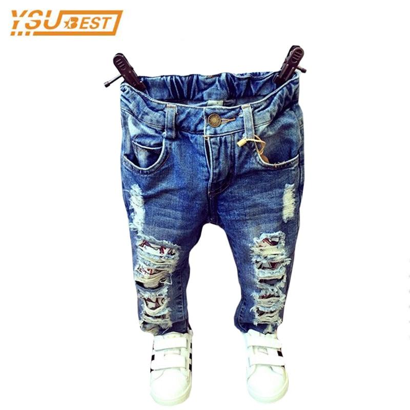 1-7yrs Del Bambino Delle Ragazze Dei Ragazzi Rotto Del Foro Dei Pantaloni 2019 Dei Jeans Di Modo Della Ragazza Del Ragazzo Del Denim Dei Pantaloni Casual Strappato Jeans Abbigliamento Per Bambini