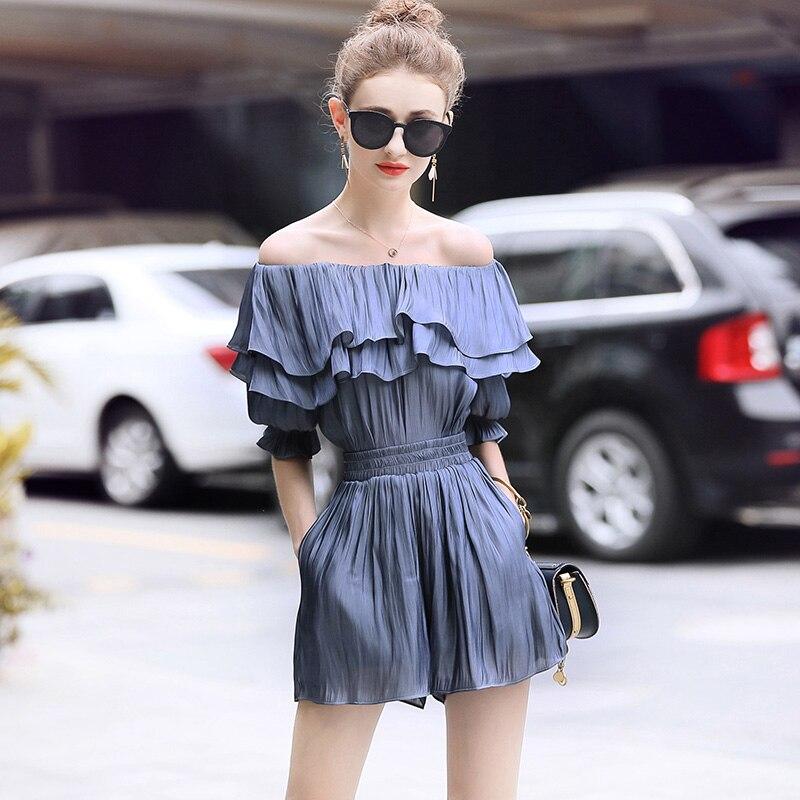 Laurence family RMOJUL 2018 summer wear womens clothing new word shoulder falbala satin shirt + shorts fashion suits