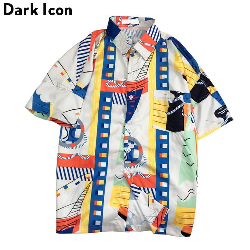 Dark Icon Geometric Printed Vintage Shirt Men 2019 Summer Street Shirts Men Short Sleeved Hip Hop Shirts