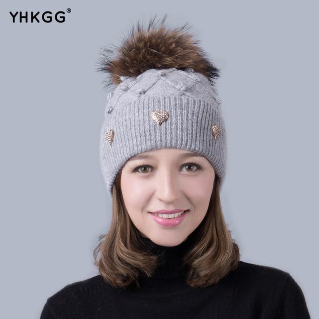 2016 nova casual senhora bonito chapéu Peas Inverno Quente Chapéu de Malha de Cashmere gorros Pom Pom Chapéu